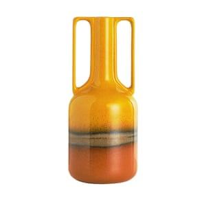 Orange large-handled vase
