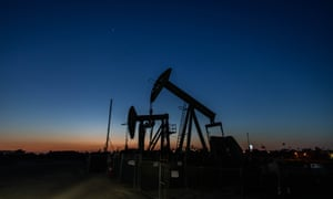 Oil pump jacks operating at Willow Springs Park in Long Beach, California.
