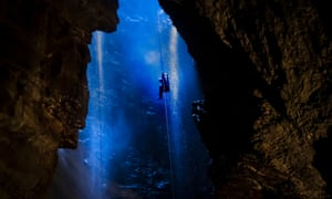 A potholer is winched into Gaping Gill in the Yorkshire Dales National Park, England