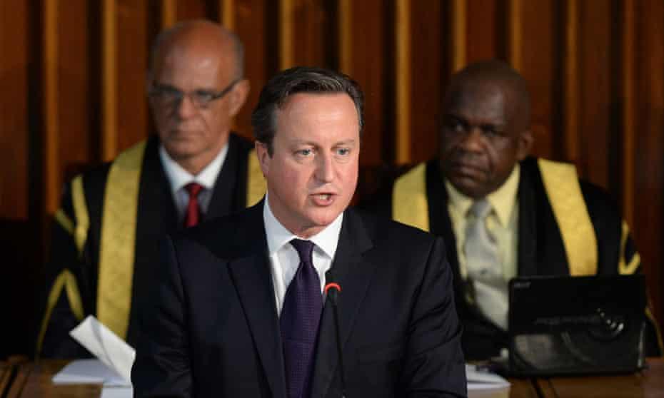 David Cameron speaking in Kingston, Jamaica