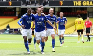 Ben Chilwell of Leicester City celebrates with Kelechi Iheanacho, James Maddison and Demarai Gray.