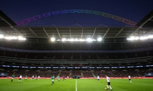 The Wembley arch lights up in rainbow colours in support of the Stonewall Rainbow Laces campaign in November 2017.