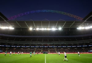 The Wembley arch lights up in rainbow colours in support of the Stonewall Rainbow Laces campaign earlier this season.