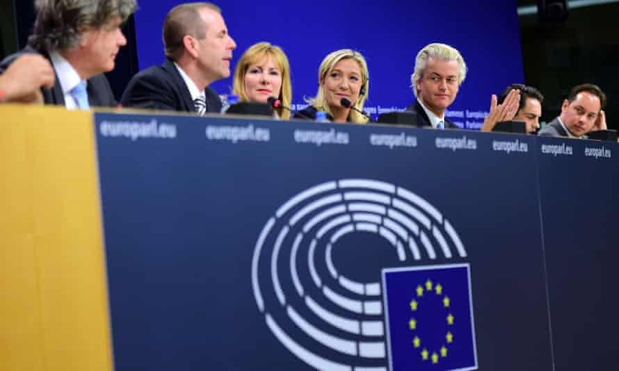 France's far-right National Front (FN) party leader Marine Le Pen holds a press conference at the European Parliament in Brussels