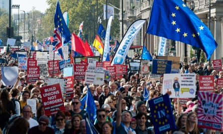 Pro-EU supporters on the People's Vote march in central London in October.