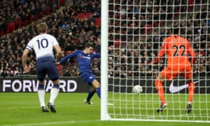 Chelsea's Andreas Christensen misses a chance to score.