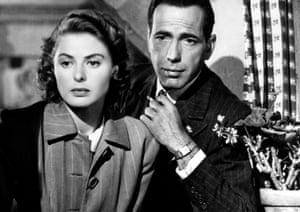 All lit up … Ingrid Bergman and Humphrey Bogart in Casablanca.