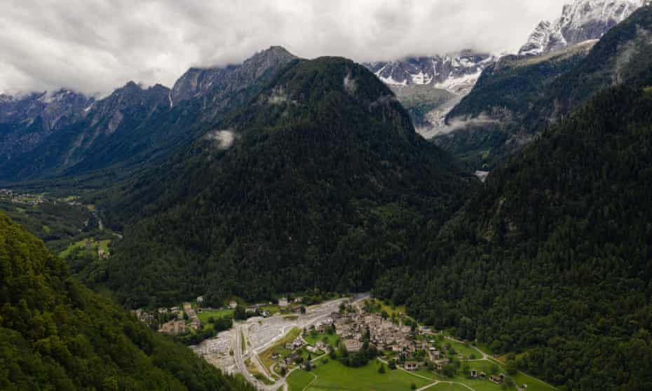 An aerial view of the village of Bondo, located at the border between Italy and Switzerland. Two years ago, 3 million cubic meters of rock fell down the mountain, killing eight hikers and triggering a chain reaction that caused massive flooding that destroyed bridges, roads and homes.