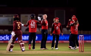 England's Sarah Glenn celebrates taking the wicket of West Indies' Deandra Dottin.