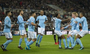 Raheem Sterling, third left, celebrates scoring Manchester City's winner at Newcastle.