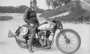 The motorcyclist and engineer Beatrice Shilling astride her Norton motorcycle at the Brooklands race track.