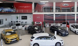 Interior of a KIA dealership on May 19, 2020 in Madrid, Spain, which reopened the day before.