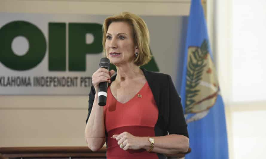 Presidential candidate Carly Fiorina gives a speech in Oklahoma City