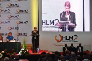 The UNDP's Helen Clark speaks at the global partnership for effective development cooperation meeting in Nairobi.