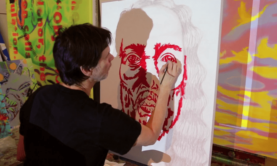 'Can he be serious?' ... Jim Carrey at work in I Needed Color.