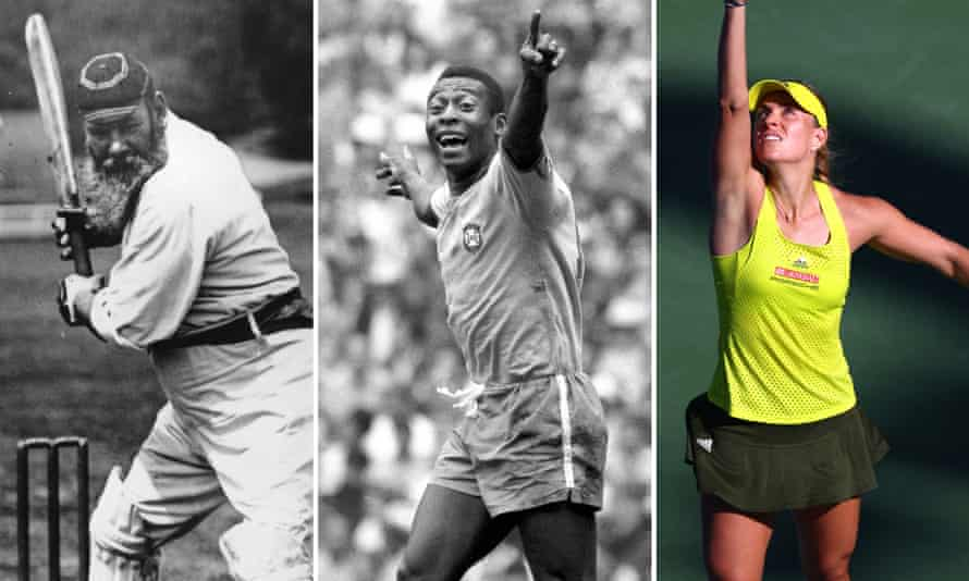 Composite showing WG Grace raising his bat to play a shot, Pele celebrating with his arms wide, and Angelique Kerber looking up at the ball, out of picture, winding up to serve