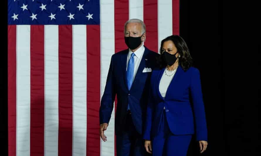 Joe Biden and Kamala Harris in Wilmington, Delaware, on 12 August.