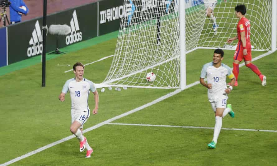 Kieran Dowell, left, celebrates after scoring England's goal against South Korea during the FIFA U-20 World Cup.