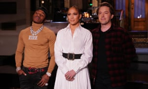 Musical guest DaBaby, host Jennifer Lopez, and Beck Bennett during promos in Studio 8H.