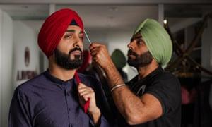 Jagdeep Singh Grewal, right owns a turban-tying company.