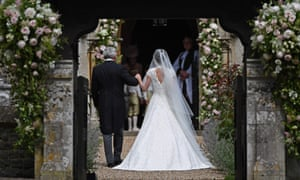 Pippa Middleton is led by her father, Michael, into St Mark's Church in Englefield.