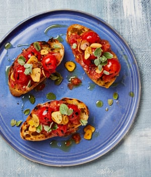 Yotam Ottolenghi's grilled bread with tomato and fried garlic