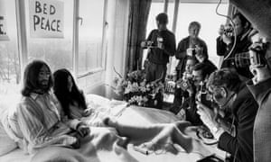 'The newspapers said, what they doing in bed?' John Lennon and Yoko Ono on their honeymoon at the Hilton hotel, Amsterdam, March 1969.