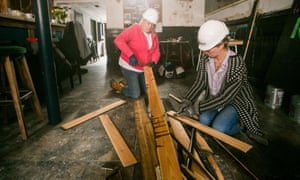 The Guardian- Hannah and Wendy Hart of Nudge Community Builders at work at the Clipper Inn in Plymouth, Devon. 06/04/2018