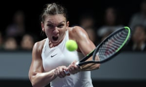 Simona Halep plays a backhand in her three-set win over the US Open champion Bianca Andreescu in Shenzhen.