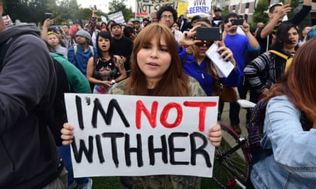 Protesters make their way to East Los Angeles College in Monterey Park, California, in May to protest against Hillary Clinton.