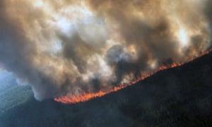 The Rainbow 2 fire, burning near Delta Creek, Alaska.