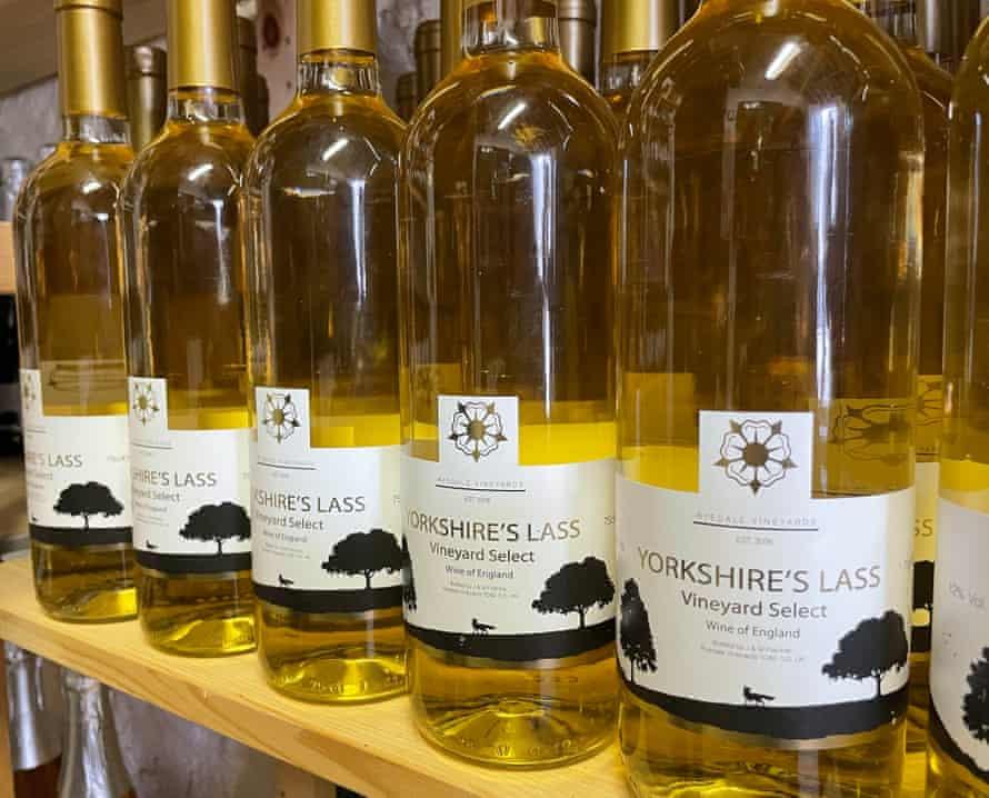 Shelf of Yorkshire's Lass white wine at Ryedale Vinyards, Malton, Yorkshire, UK.