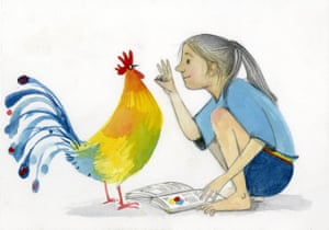 Colourful illustration of girl (photo below) showing the number three to a cockerel with open book