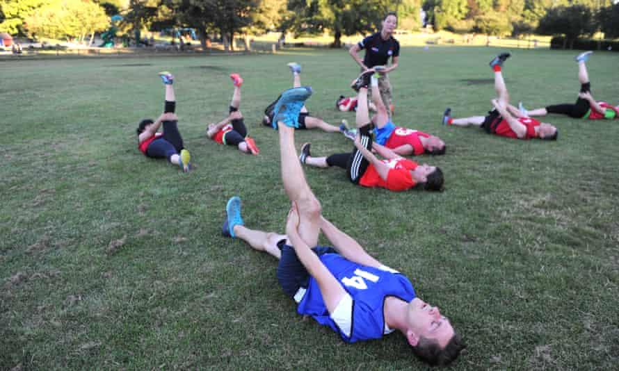 In British Military Fitness, there are no breaks at all.