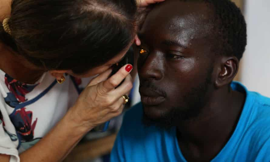 Migrants receive medical checkups in Brazil after their 35-day ordeal on the Atlantic Ocean.