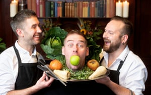 Sam Gregory with sous chef Rob Bartley, left, and head chef Nick Hutchings, right, at the Bank Tavern.