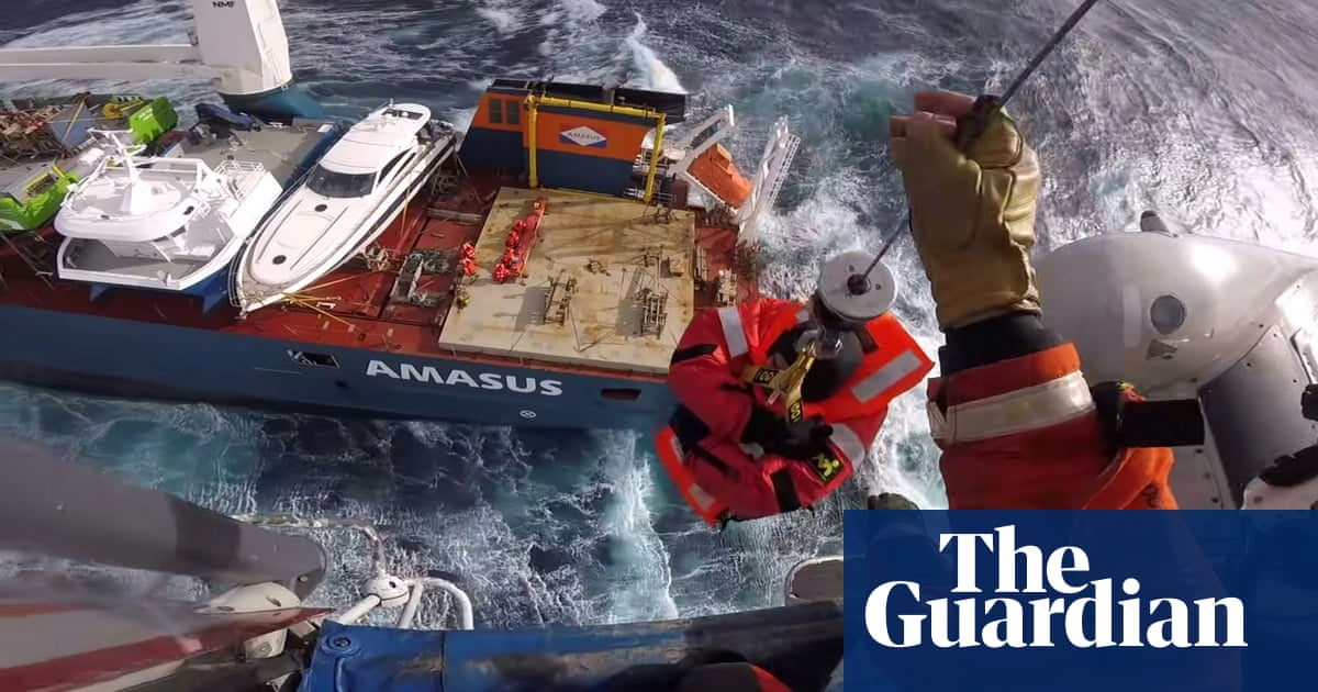 Twelve crew rescued from cargo ship adrift in huge seas off Norway
