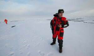John Vidal on an Arctic ice floe in 2012.