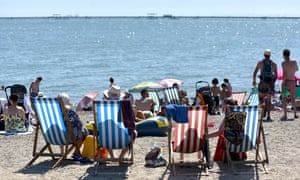Beachgoers in Southend-on-Sea.