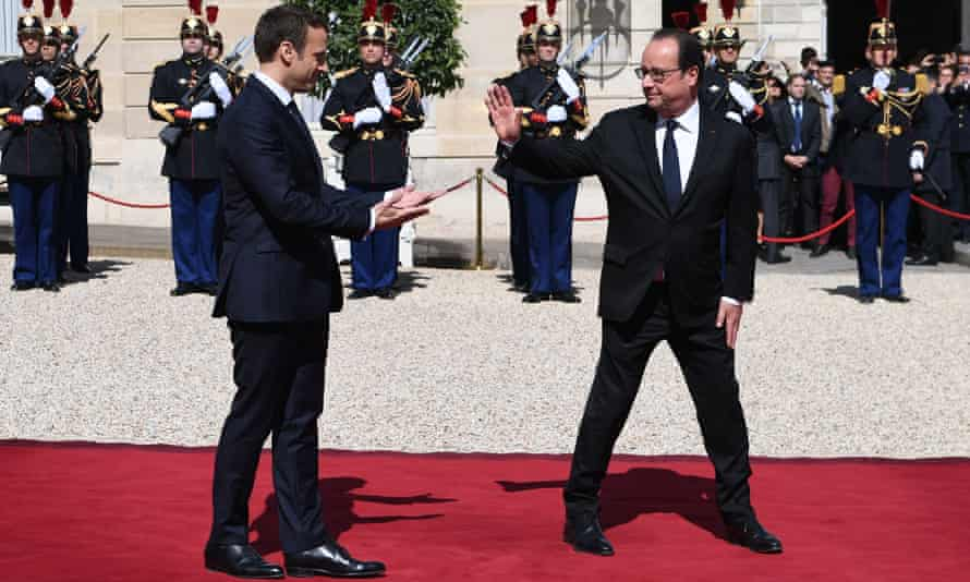 The former French president François Hollande (right) and his successor Emmanuel Macron in 2017. Both leaders studied at ENA.