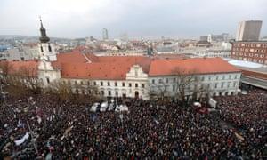 Marchers protest about the murder of Slovak journalist Ján Kuciak and his girlfriend Martina Kušnírová, 16 March 2018, Bratislava, Slovakia.