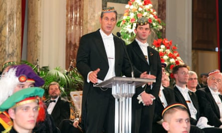 The Freedom party leader, Heinz Christian Strache, centre, speaks at a fraternity ball in Vienna