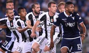 Juventus defending in numbers against Lazio last month. From left, Leonardo Bonucci, Alex Sandro, Giorgio Chiellini and Mario Mandzukic