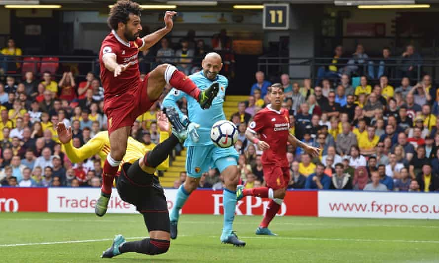 Mohamed Salah scores his first goal for Liverpool at Watford in 2017.
