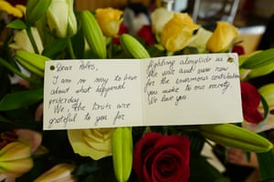 A floral tribute sent to the Polish arts centre in Hammersmith.