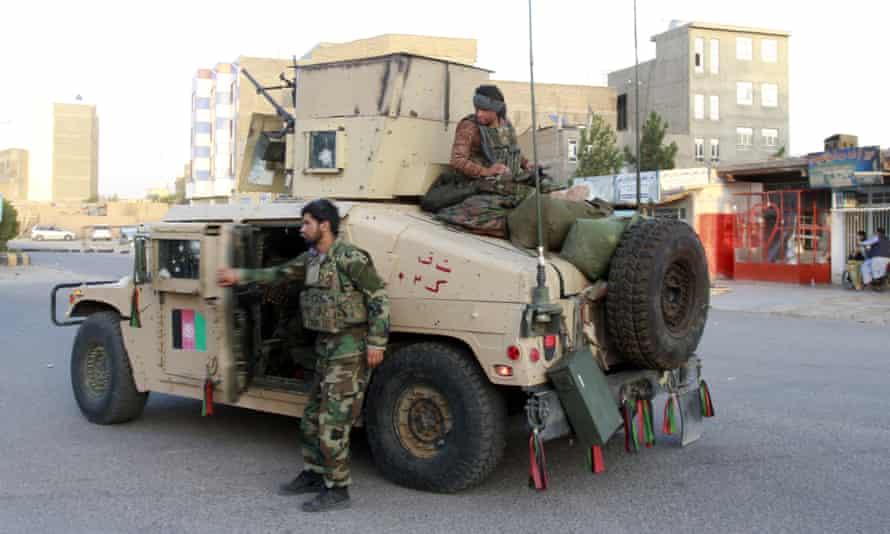 Afghan security personnel on patrol in Herat