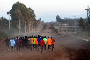 Iten, Kenya A group of runners takes part a training session