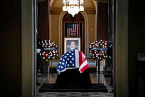 The casket of the late supreme court justice Ruth Bader Ginsburg is seen in Statuary Hall in the US Capitol to lie in state in Washington DC, on 25 September