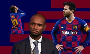 Lionel Messi of FC Barcelona and the club's sports director Eric Abidal, who fell out this week over comments made by Abidal.