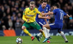 Maddison takes on Danny Drinkwater and Pedro of Chelsea in January's FA Cup tie at Stamford Bridge.